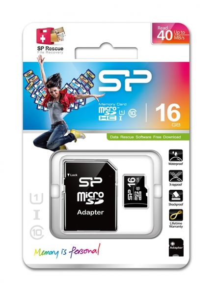 Silicon Power microSDHC 16GB Kit, Class 10